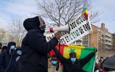 Manifestation contre la dictature au Sénégal à Montréal (Canada), le 6 mars 2021